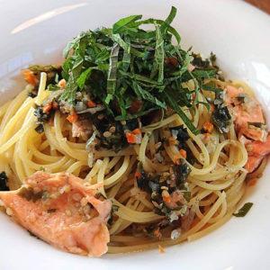 鮭としらすの和風ねぎ塩スパゲッティ